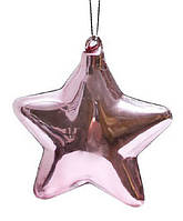 Елочное украшение 8см Звезда розовая