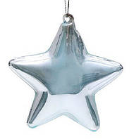 Елочное украшение 10см Звезда голубая