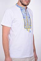 Патриотическая мужская футболка вышиванка в белом цвете