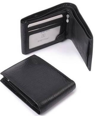 Кожаный стильный мужской бумажник Bretton M8 black (черный)