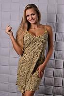 Леопардовая женская ночная сорочка на тонких брителях