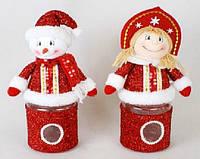 Банка для конфет с мягкой игрушкой Снеговик, Снегурочка, 31см