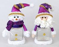 Банка для конфет Снеговик и Санта, 20см