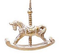 Елочное украшение - лошадка, патинированное золото