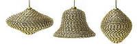 Елочное украшение: луковица, олива, колокольчик (3 диз.микс), цвет - золото