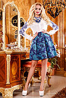 Молодежная женская юбка-клеш из жаккарда