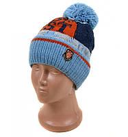 Голубая вязанная шапка мужская