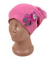 Розовая шапка детская Мишка