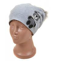 Вязанная шапка детская Мишка серая