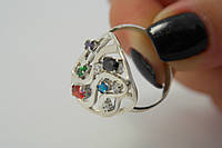 Серебряное кольцо с цветными камнями