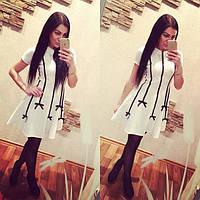 Женское короткое белое платье