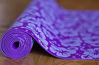 Коврик для йоги и аэробики 173 х 60 х 0,4 см. С рисунком, в чехле.