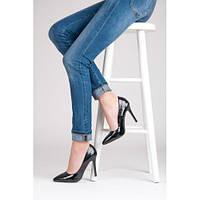 Черные женские лакированные туфли лодочки