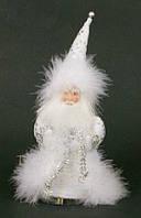 Мягкая новогодняя игрушка из ткани и пуха Санта, 21см