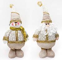 Новогодняя мягкая игрушка Санта, Снеговик, 37см