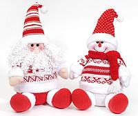 Новогодняя мягкая игрушка Санта, Снеговик, 30см