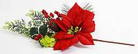 Декоративная композиция с красной пуансеттией 53см