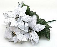 Декоративный букет из белых пуансеттий 27см