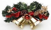 Новогодний декоративный венок с колокольчиками, 25.5см
