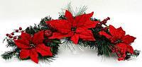Новогодний декор из искусственной хвои с пуансеттиями, 61см