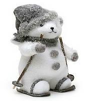 Новогодний декор Медведь в серой шапке 36см