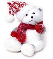 Новогодяя декоративная игрушка Мишка в шапке и шарфике 23см