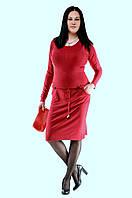Женское платье на пояске с карманами осень зима 2016 красное