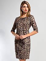 Леопардовое женское платье из плотного зимнего дайвинга