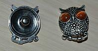 Кнопка сова. с глазами из кошачьего глаза 20 мм