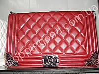 Женская сумка клатч Chanel Boy 013560 большая 30 см бордовая с серебром