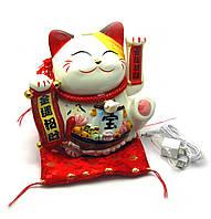 Кошка Манэки-нэко машущая лапой керамика*