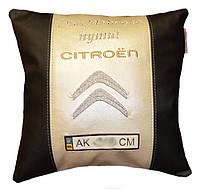 Автомобильная подушка в машину с вышивкой марки машины citroen подарок новогодний