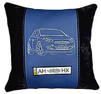 Автомобильная подушка с вышивкой фото силуэта машины подарок в авто