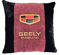 Автомобильная подушка с вышивкой логотипа машины Geely джилли подарок сувенир