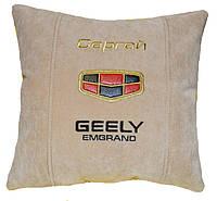 Авто подушка с вышивкой логотипа машины Geely джилли подарок сувенир