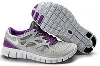 Кроссовки женские беговые Nike Free Run Plus 2 (найк фри ран, оригинал) серые