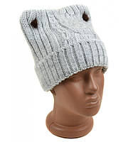 Женская шапка необычная Вязка зима 2016 серый цвет