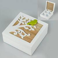 Красивая шкатулка из дерева «Птичка на ветке» 14х14х6 см