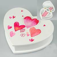 Деревянная шкатулка для украшений в форме сердца 19х16х6 см