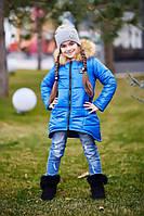 Пуховик детский для девочки Синий