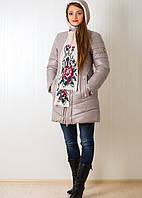 Оригинальная теплая курточка с модным шарфиком