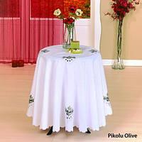 Скатерть Kayaoglu Olive с вышивкой 160хQ см