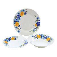 Набор столовой посуды Цветы сине-желтые Оселя, 18 предметов