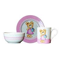 Набор детской посуды Оселя Медвежонок девочка, 3 предмета