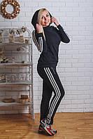 Спортивный костюм женский с лампасами черный, фото 1
