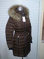 Полу-пальто женское с мехом енота snowimage q306 коричневый