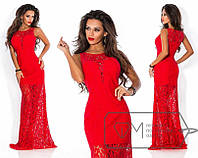 Нарядное вечернее длинное красное платье в пол