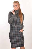 Облегающее теплое трикотажное платье Серый