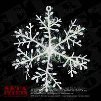 Снежинка d-10,5 см одинарная, подвесная, новогодняя