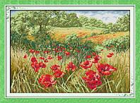 Маковое поле Набор для вышивки крестом с печатью на ткани 14ст